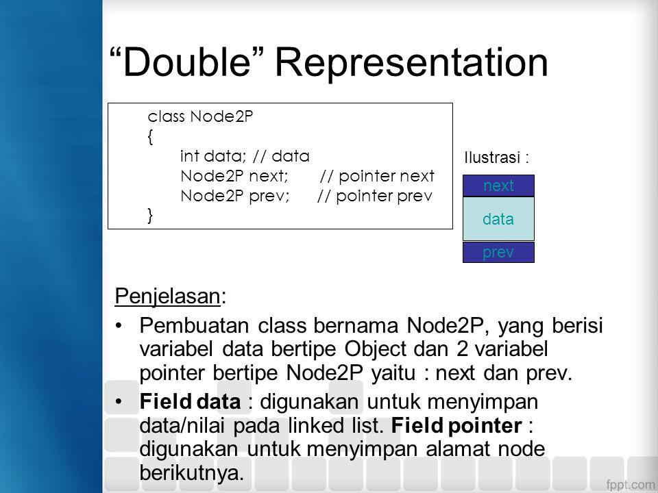 """""""Double"""" Representation Penjelasan: Pembuatan class bernama Node2P, yang berisi variabel data bertipe Object dan 2 variabel pointer bertipe Node2P yai"""
