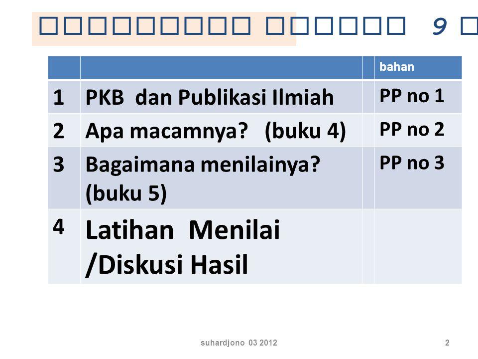 suhardjono 03 201212 Pendidikan Pelaksanaan Pembelajaran (PKG) Pengembangan Keprofesian Berkelanjutan (PKB) Penunjang Angk a Kred it dida pat dari..