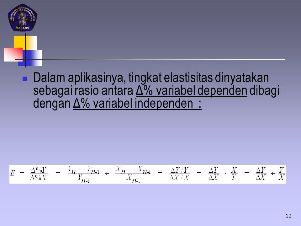 Dalam aplikasinya, tingkat elastisitas dinyatakan sebagai rasio antara Δ% variabel dependen dibagi dengan Δ% variabel independen : 12