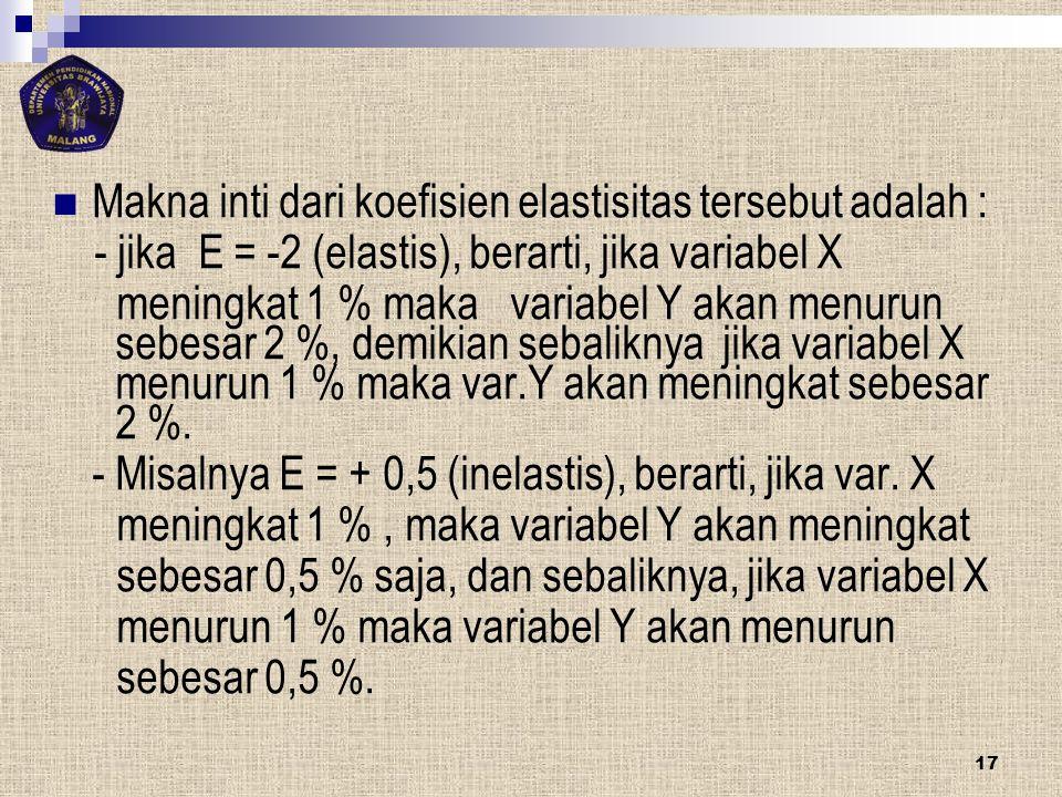 Makna inti dari koefisien elastisitas tersebut adalah : - jika E = -2 (elastis), berarti, jika variabel X meningkat 1 % maka variabel Y akan menurun s