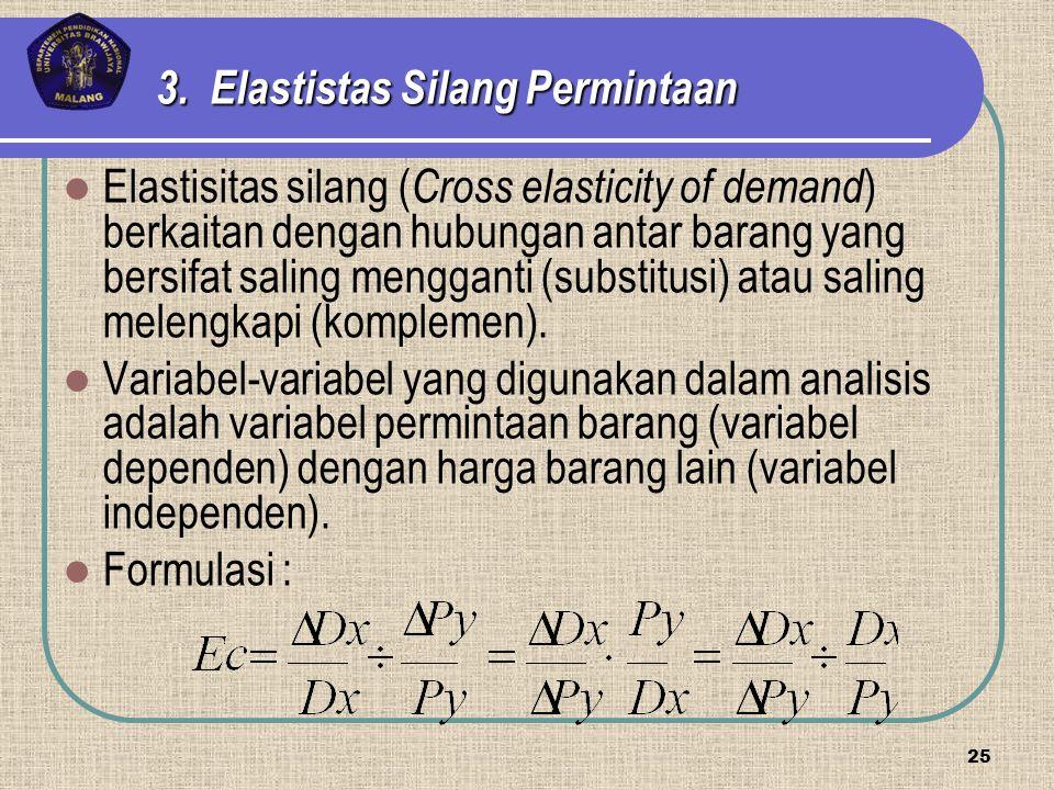 Elastisitas silang ( Cross elasticity of demand ) berkaitan dengan hubungan antar barang yang bersifat saling mengganti (substitusi) atau saling melen