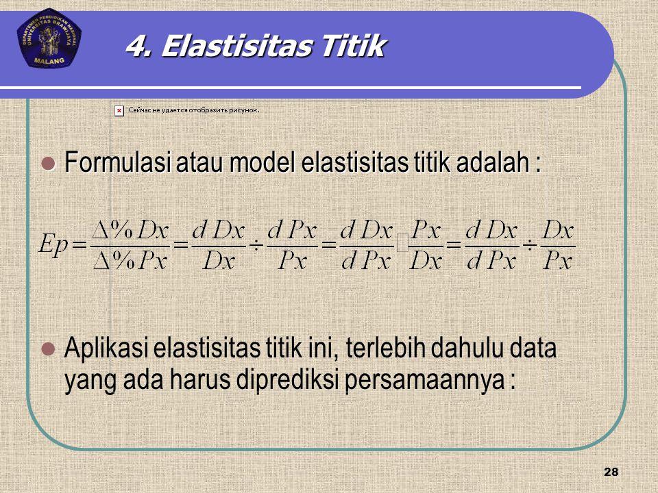 Formulasi atau model elastisitas titik adalah : Formulasi atau model elastisitas titik adalah : Aplikasi elastisitas titik ini, terlebih dahulu data y