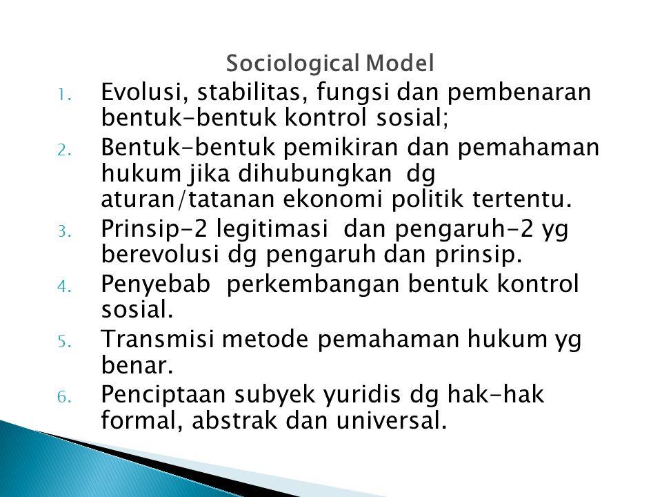 Sociological Model 1. Evolusi, stabilitas, fungsi dan pembenaran bentuk-bentuk kontrol sosial; 2. Bentuk-bentuk pemikiran dan pemahaman hukum jika dih