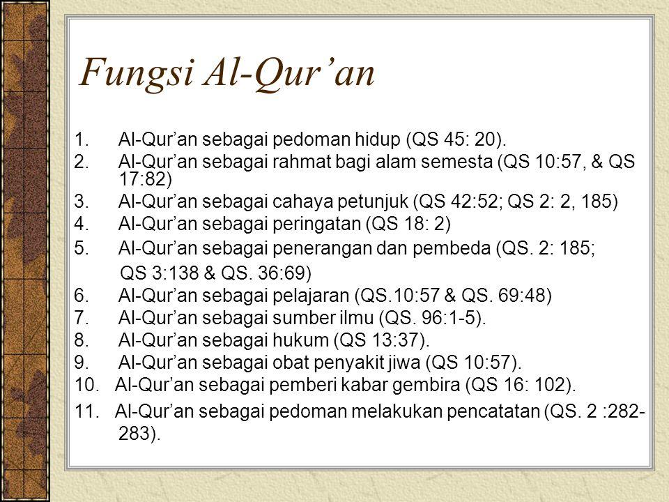 Fungsi Al-Qur'an 1.Al-Qur'an sebagai pedoman hidup (QS 45: 20). 2.Al-Qur'an sebagai rahmat bagi alam semesta (QS 10:57, & QS 17:82) 3.Al-Qur'an sebaga