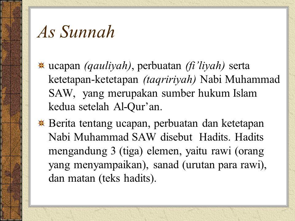 As Sunnah ucapan (qauliyah), perbuatan (fi'liyah) serta ketetapan-ketetapan (taqririyah) Nabi Muhammad SAW, yang merupakan sumber hukum Islam kedua se