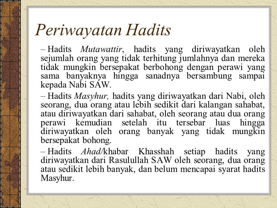 Periwayatan Hadits – Hadits Mutawattir, hadits yang diriwayatkan oleh sejumlah orang yang tidak terhitung jumlahnya dan mereka tidak mungkin bersepakat berbohong dengan perawi yang sama banyaknya hingga sanadnya bersambung sampai kepada Nabi SAW.