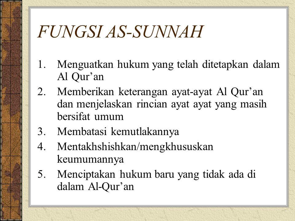 FUNGSI AS-SUNNAH 1.Menguatkan hukum yang telah ditetapkan dalam Al Qur'an 2.Memberikan keterangan ayat-ayat Al Qur'an dan menjelaskan rincian ayat ayat yang masih bersifat umum 3.Membatasi kemutlakannya 4.Mentakhshishkan/mengkhususkan keumumannya 5.Menciptakan hukum baru yang tidak ada di dalam Al-Qur'an