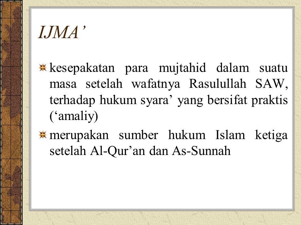 IJMA' kesepakatan para mujtahid dalam suatu masa setelah wafatnya Rasulullah SAW, terhadap hukum syara' yang bersifat praktis ('amaliy) merupakan sumber hukum Islam ketiga setelah Al-Qur'an dan As-Sunnah