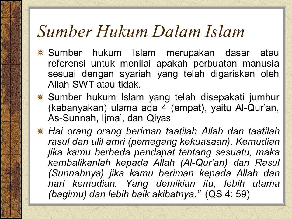 Sumber Hukum Dalam Islam Sumber hukum Islam merupakan dasar atau referensi untuk menilai apakah perbuatan manusia sesuai dengan syariah yang telah dig