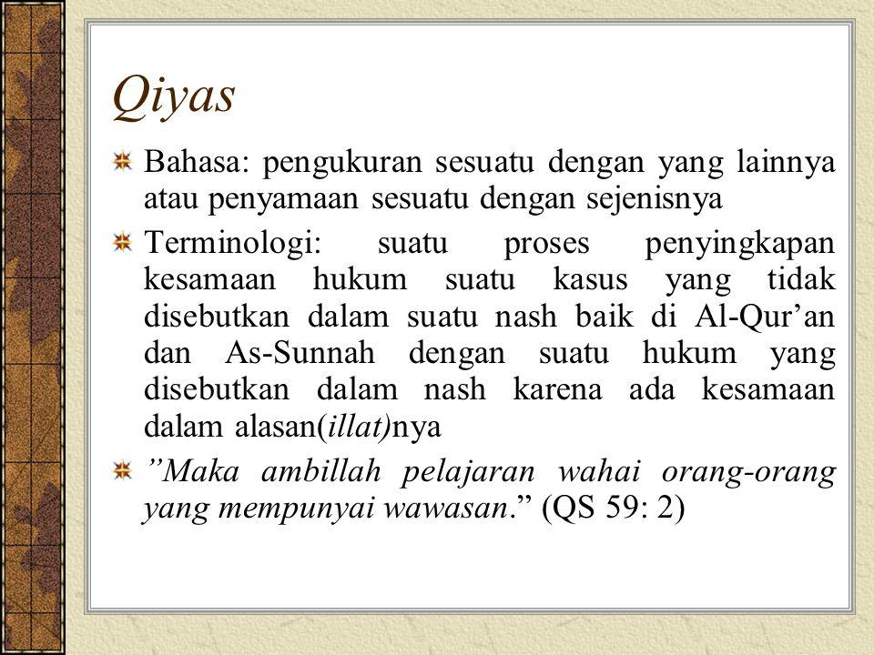 Qiyas Bahasa: pengukuran sesuatu dengan yang lainnya atau penyamaan sesuatu dengan sejenisnya Terminologi: suatu proses penyingkapan kesamaan hukum suatu kasus yang tidak disebutkan dalam suatu nash baik di Al-Qur'an dan As-Sunnah dengan suatu hukum yang disebutkan dalam nash karena ada kesamaan dalam alasan(illat)nya Maka ambillah pelajaran wahai orang-orang yang mempunyai wawasan. (QS 59: 2)