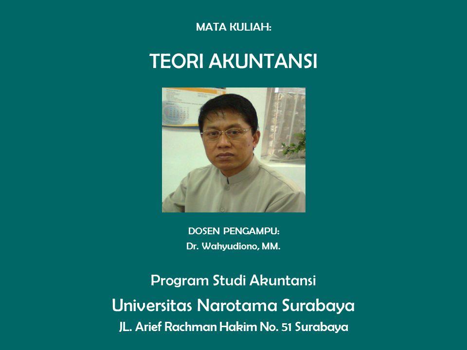 MATA KULIAH: TEORI AKUNTANSI DOSEN PENGAMPU: Dr. Wahyudiono, MM. Program Studi Akuntansi Universitas Narotama Surabaya JL. Arief Rachman Hakim No. 51