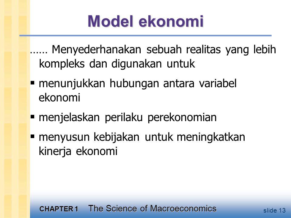 CHAPTER 1 The Science of Macroeconomics slide 13 Model ekonomi …… Menyederhanakan sebuah realitas yang lebih kompleks dan digunakan untuk  menunjukkan hubungan antara variabel ekonomi  menjelaskan perilaku perekonomian  menyusun kebijakan untuk meningkatkan kinerja ekonomi