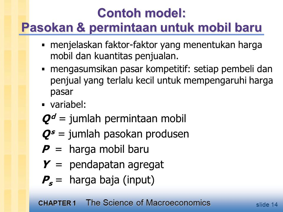 CHAPTER 1 The Science of Macroeconomics slide 14 Contoh model: Pasokan & permintaan untuk mobil baru  menjelaskan faktor-faktor yang menentukan harga mobil dan kuantitas penjualan.