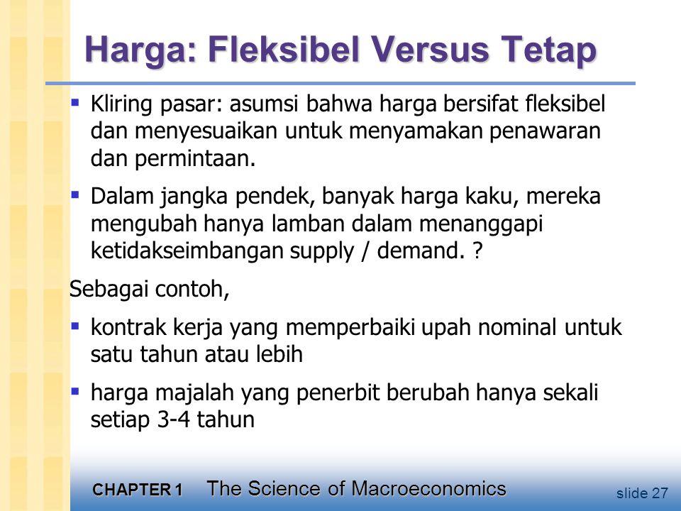 CHAPTER 1 The Science of Macroeconomics slide 27 Harga: Fleksibel Versus Tetap  Kliring pasar: asumsi bahwa harga bersifat fleksibel dan menyesuaikan untuk menyamakan penawaran dan permintaan.