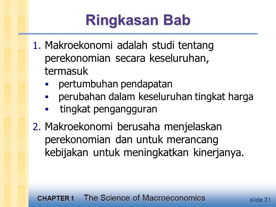 CHAPTER 1 The Science of Macroeconomics slide 31 Ringkasan Bab 1.
