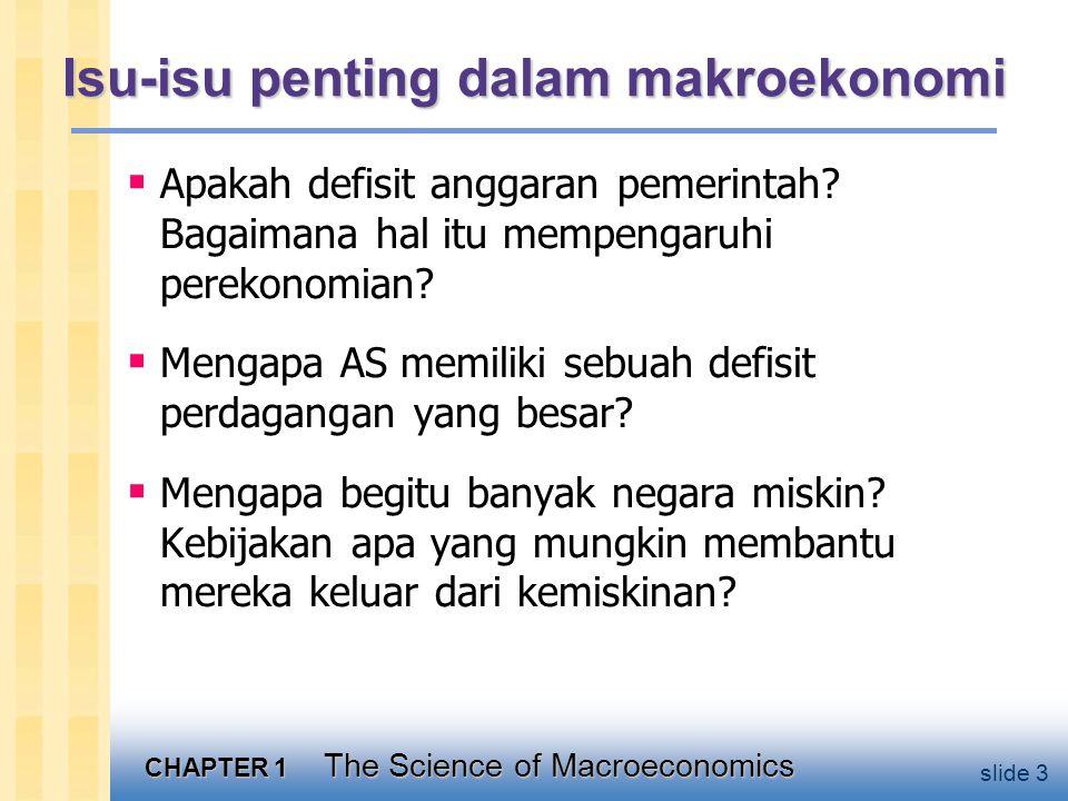 CHAPTER 1 The Science of Macroeconomics slide 3 Isu-isu penting dalam makroekonomi  Apakah defisit anggaran pemerintah.