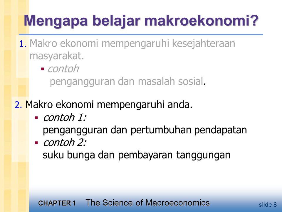 CHAPTER 1 The Science of Macroeconomics slide 29 Garis besar buku ini:  Materi pengantar (bab 1 & 2)  Teori klasik (bab 3-6) Bagaimana perekonomian bekerja dalam jangka panjang, ketika harga fleksibel  Teori Pertumbuhan (bab 7-8) Standar hidup dan tingkat pertumbuhan dalam jangka yang sangat panjang  Teori Siklus Bisnis (bab 9-13) Bagaimana perekonomian bekerja dalam jangka pendek, ketika harga bersifat kaku.