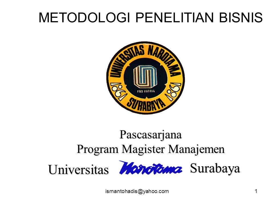 ismantohadis@yahoo.com1 METODOLOGI PENELITIAN BISNIS Pascasarjana Program Magister Manajemen Universitas Surabaya