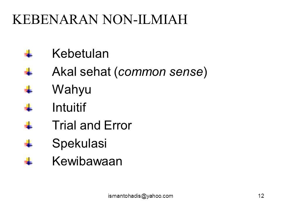 ismantohadis@yahoo.com11 RE-SEARCH KEBENARAN ILMIAH NON - ILMIAH ( KEBENARAN ) MENCARI KEMBALI