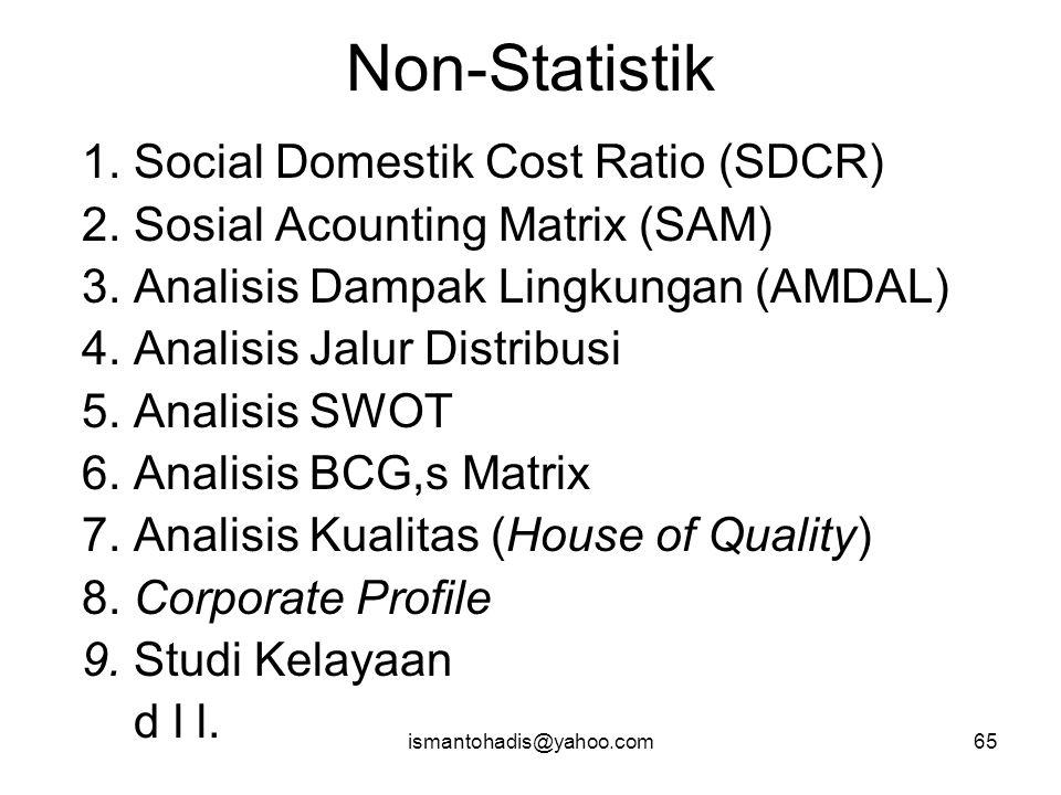 ismantohadis@yahoo.com64 STATISTIK Non – Parametrik 1. Diskriptif a. Tabel b. Grafik/Diagram 2. Uji Beda 3. Korelasi Parametrik 1. Diskriptif 2. Uji B