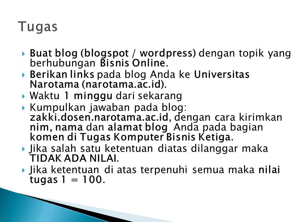  Buat blog (blogspot / wordpress) dengan topik yang berhubungan Bisnis Online.