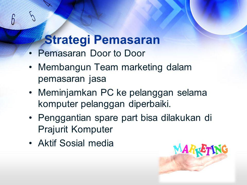 Strategi Pemasaran Pemasaran Door to Door Membangun Team marketing dalam pemasaran jasa Meminjamkan PC ke pelanggan selama komputer pelanggan diperbaiki.