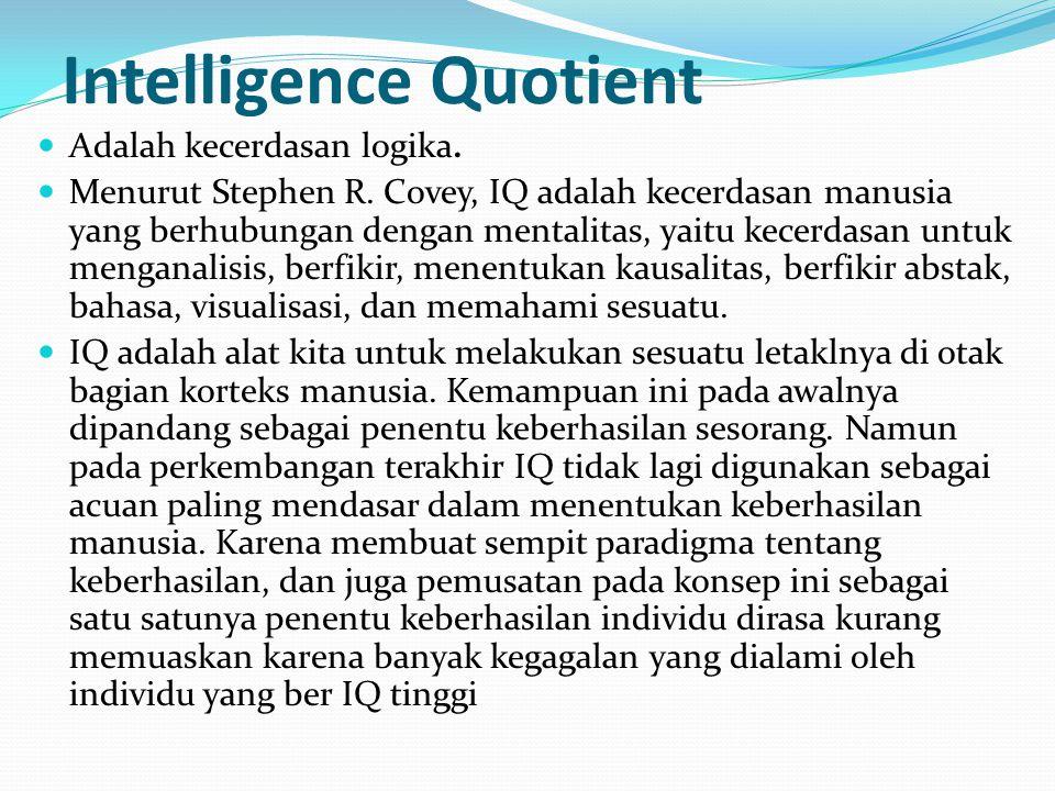Intelligence Quotient Adalah kecerdasan logika. Menurut Stephen R. Covey, IQ adalah kecerdasan manusia yang berhubungan dengan mentalitas, yaitu kecer