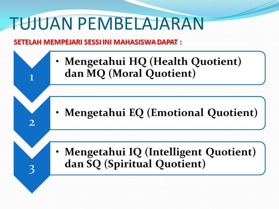 TUJUAN PEMBELAJARAN 1 Mengetahui HQ (Health Quotient) dan MQ (Moral Quotient) 2 Mengetahui EQ (Emotional Quotient) 3 Mengetahui IQ (Intelligent Quotie