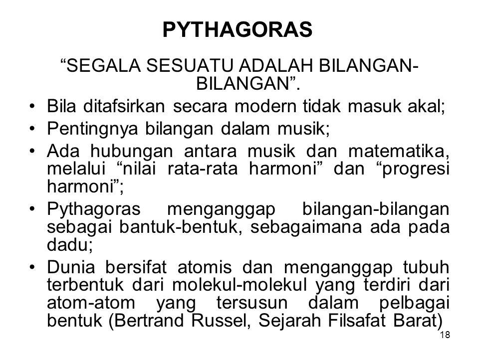 18 PYTHAGORAS SEGALA SESUATU ADALAH BILANGAN- BILANGAN .