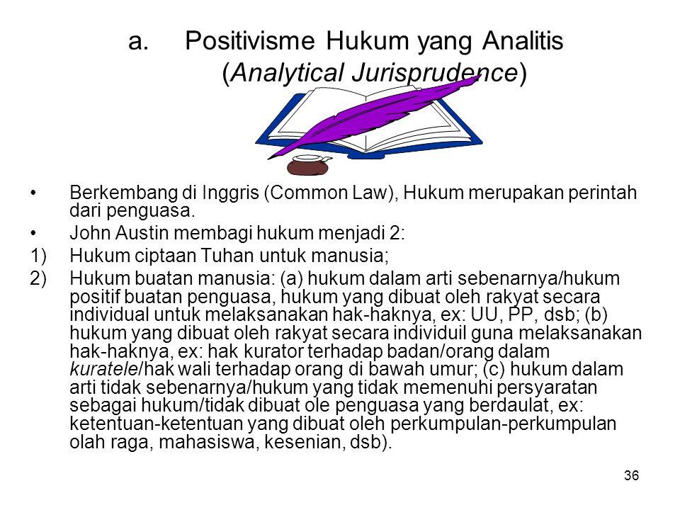 36 a.Positivisme Hukum yang Analitis (Analytical Jurisprudence) Berkembang di Inggris (Common Law), Hukum merupakan perintah dari penguasa.