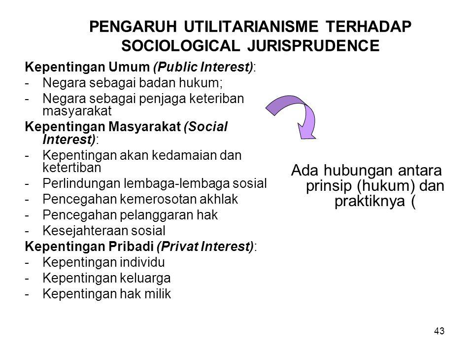 43 PENGARUH UTILITARIANISME TERHADAP SOCIOLOGICAL JURISPRUDENCE Kepentingan Umum (Public Interest): -Negara sebagai badan hukum; -Negara sebagai penjaga keteriban masyarakat Kepentingan Masyarakat (Social Interest): -Kepentingan akan kedamaian dan ketertiban -Perlindungan lembaga-lembaga sosial -Pencegahan kemerosotan akhlak -Pencegahan pelanggaran hak -Kesejahteraan sosial Kepentingan Pribadi (Privat Interest): -Kepentingan individu -Kepentingan keluarga -Kepentingan hak milik Ada hubungan antara prinsip (hukum) dan praktiknya (