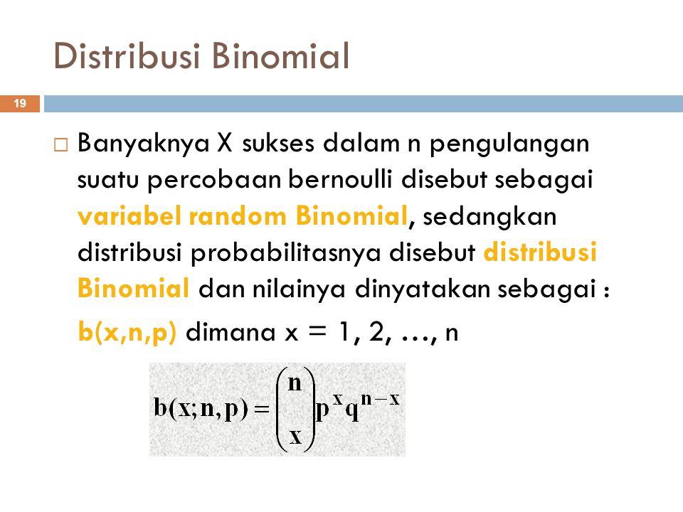 Distribusi Binomial 19  Banyaknya X sukses dalam n pengulangan suatu percobaan bernoulli disebut sebagai variabel random Binomial, sedangkan distribu