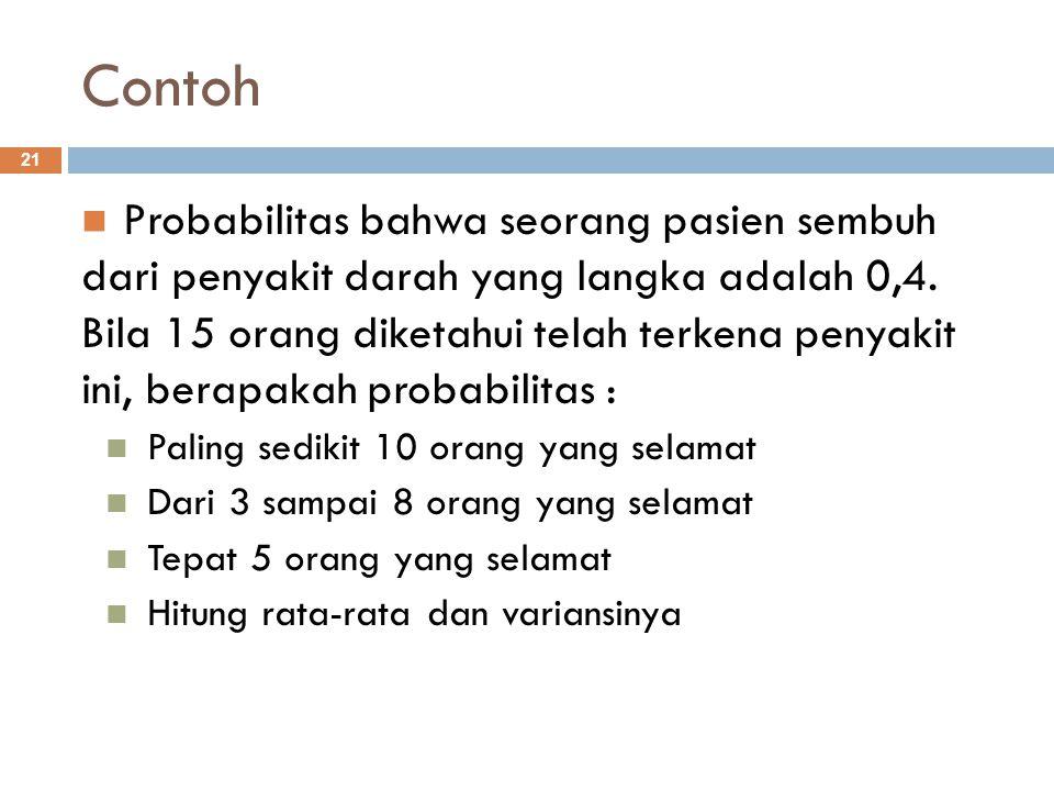 Contoh 21 Probabilitas bahwa seorang pasien sembuh dari penyakit darah yang langka adalah 0,4. Bila 15 orang diketahui telah terkena penyakit ini, ber