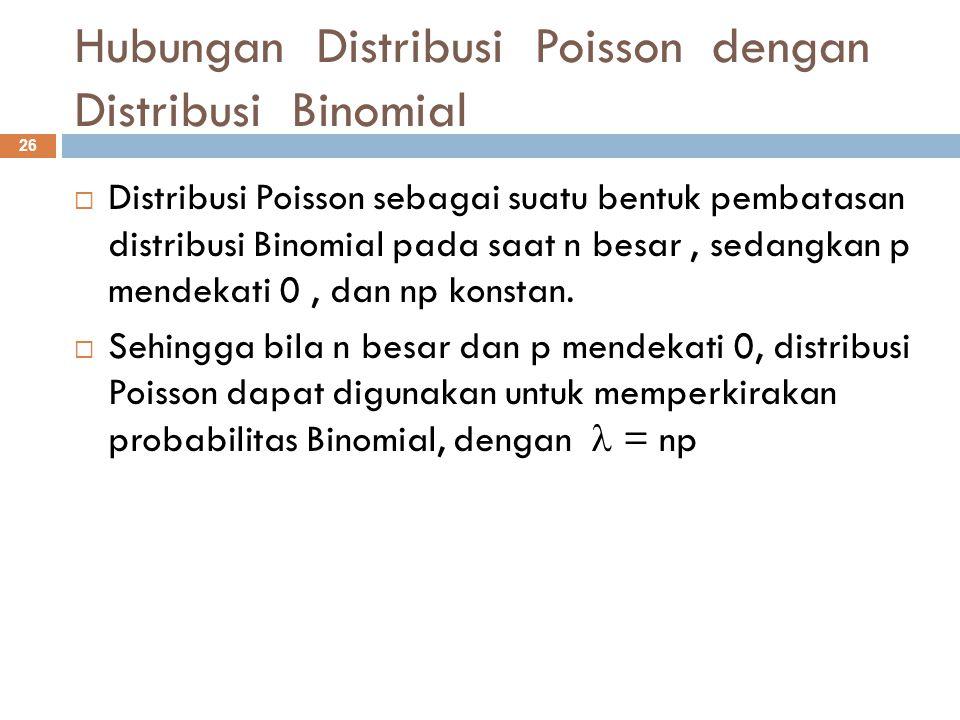 Hubungan Distribusi Poisson dengan Distribusi Binomial 26  Distribusi Poisson sebagai suatu bentuk pembatasan distribusi Binomial pada saat n besar,