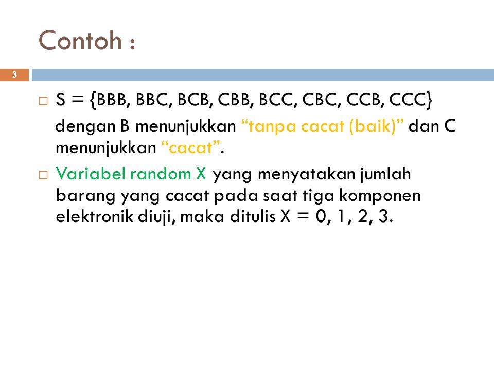 """Contoh : 3  S = {BBB, BBC, BCB, CBB, BCC, CBC, CCB, CCC} dengan B menunjukkan """"tanpa cacat (baik)"""" dan C menunjukkan """"cacat"""".  Variabel random X yan"""