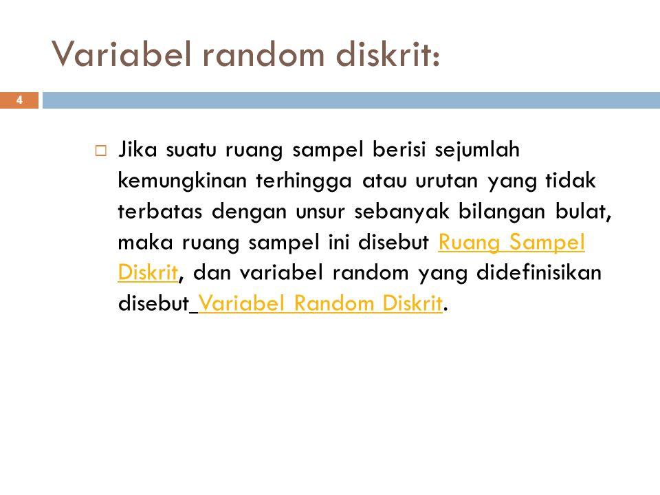 Variabel random diskrit: 4  Jika suatu ruang sampel berisi sejumlah kemungkinan terhingga atau urutan yang tidak terbatas dengan unsur sebanyak bilan