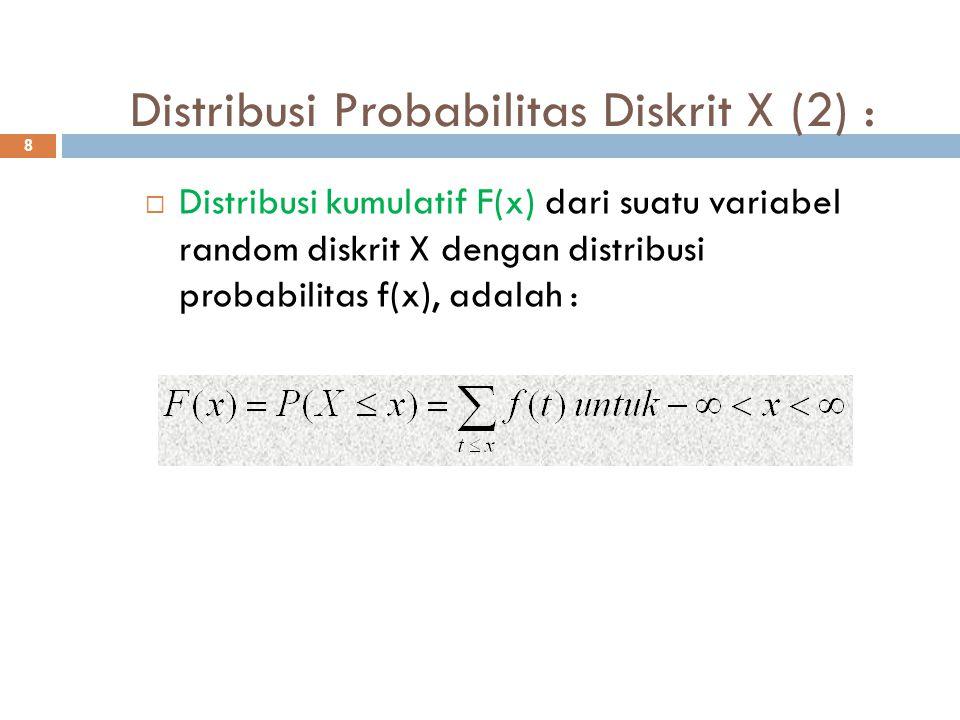 Distribusi Probabilitas Diskrit X (2) : 8  Distribusi kumulatif F(x) dari suatu variabel random diskrit X dengan distribusi probabilitas f(x), adalah