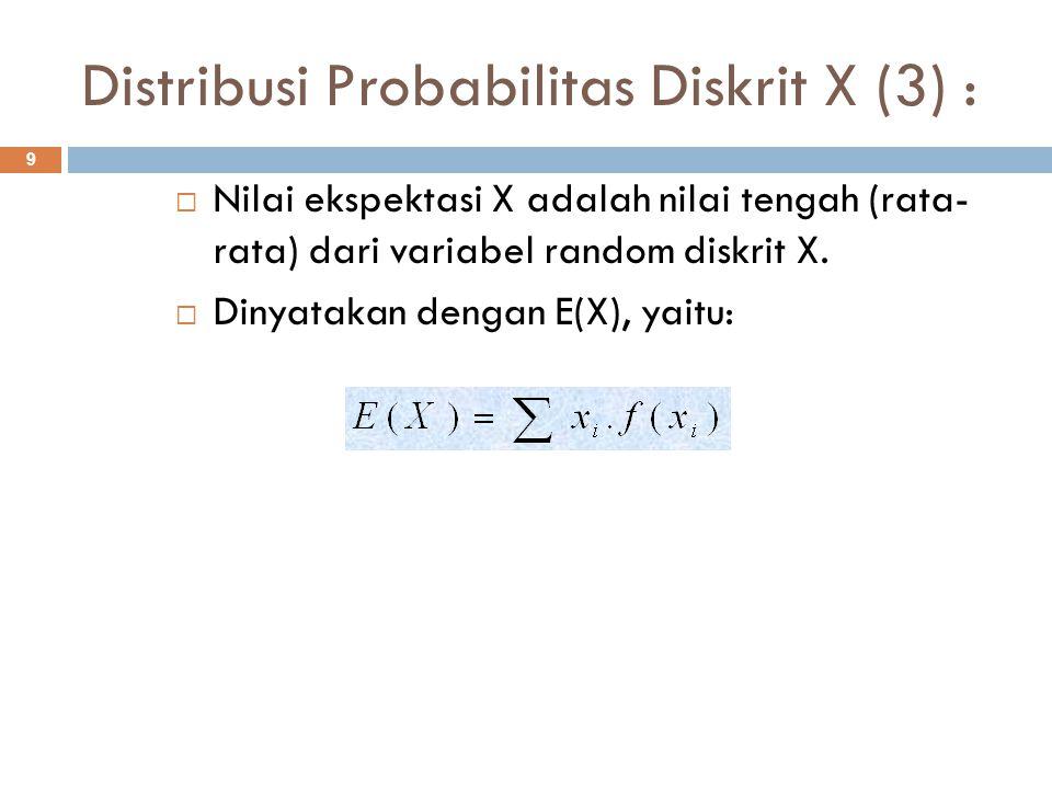 Distribusi Probabilitas Diskrit X (3) : 9  Nilai ekspektasi X adalah nilai tengah (rata- rata) dari variabel random diskrit X.  Dinyatakan dengan E(
