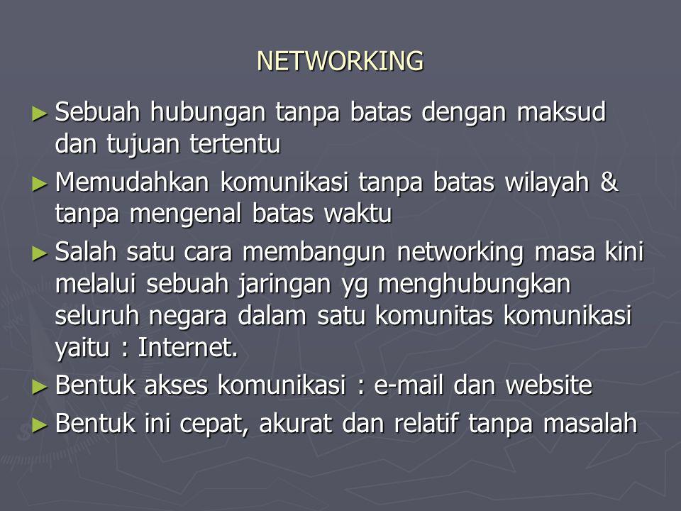 NETWORKING ► Sebuah hubungan tanpa batas dengan maksud dan tujuan tertentu ► Memudahkan komunikasi tanpa batas wilayah & tanpa mengenal batas waktu ► Salah satu cara membangun networking masa kini melalui sebuah jaringan yg menghubungkan seluruh negara dalam satu komunitas komunikasi yaitu : Internet.