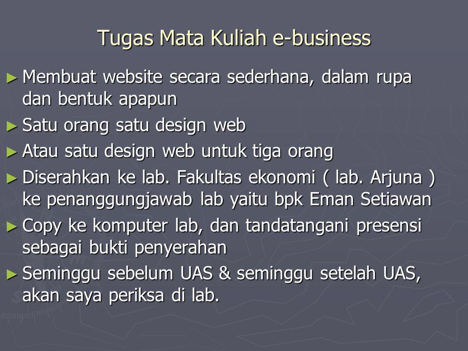 Tugas Mata Kuliah e-business ► Membuat website secara sederhana, dalam rupa dan bentuk apapun ► Satu orang satu design web ► Atau satu design web untuk tiga orang ► Diserahkan ke lab.