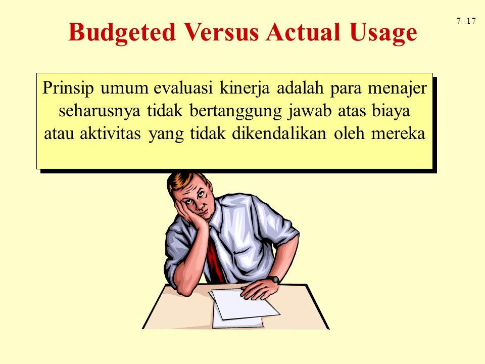7 -17 Budgeted Versus Actual Usage Prinsip umum evaluasi kinerja adalah para menajer seharusnya tidak bertanggung jawab atas biaya atau aktivitas yang