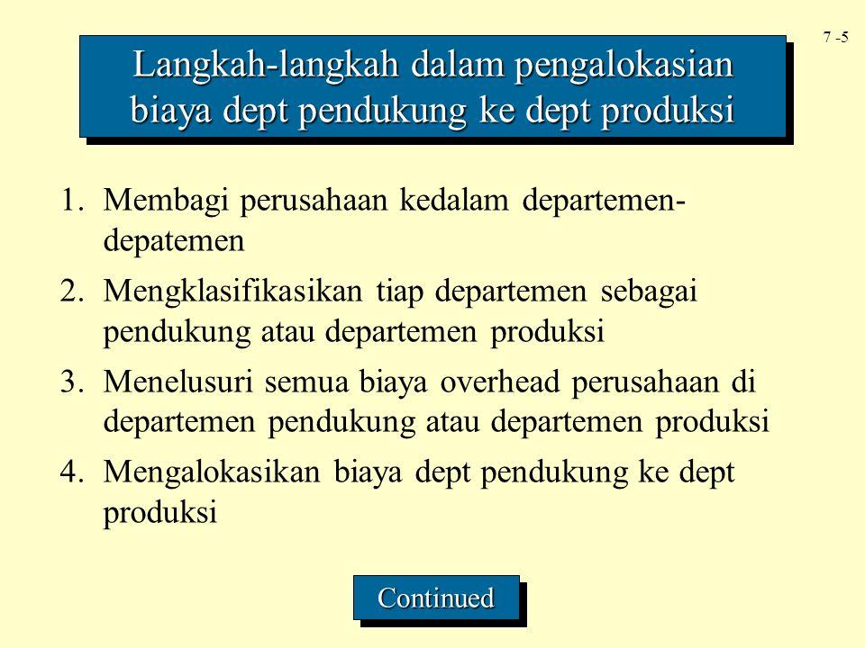 7 -5 1.Membagi perusahaan kedalam departemen- depatemen 2.Mengklasifikasikan tiap departemen sebagai pendukung atau departemen produksi 3.Menelusuri s