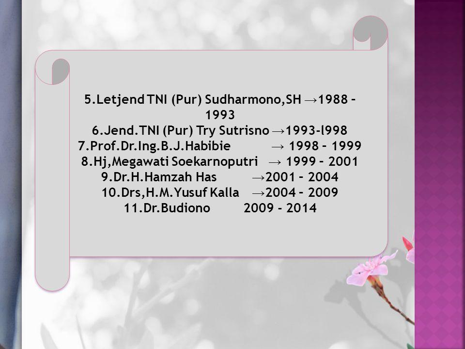 5.Letjend TNI (Pur) Sudharmono,SH → 1988 – 1993 6.Jend.TNI (Pur) Try Sutrisno → 1993-l998 7.Prof.Dr.Ing.B.J.Habibie → 1998 – 1999 8.Hj,Megawati Soekarnoputri → 1999 – 2001 9.Dr.H.Hamzah Has → 2001 – 2004 10.Drs,H.M.Yusuf Kalla → 2004 – 2009 11.Dr.Budiono 2009 - 2014 5.Letjend TNI (Pur) Sudharmono,SH → 1988 – 1993 6.Jend.TNI (Pur) Try Sutrisno → 1993-l998 7.Prof.Dr.Ing.B.J.Habibie → 1998 – 1999 8.Hj,Megawati Soekarnoputri → 1999 – 2001 9.Dr.H.Hamzah Has → 2001 – 2004 10.Drs,H.M.Yusuf Kalla → 2004 – 2009 11.Dr.Budiono 2009 - 2014