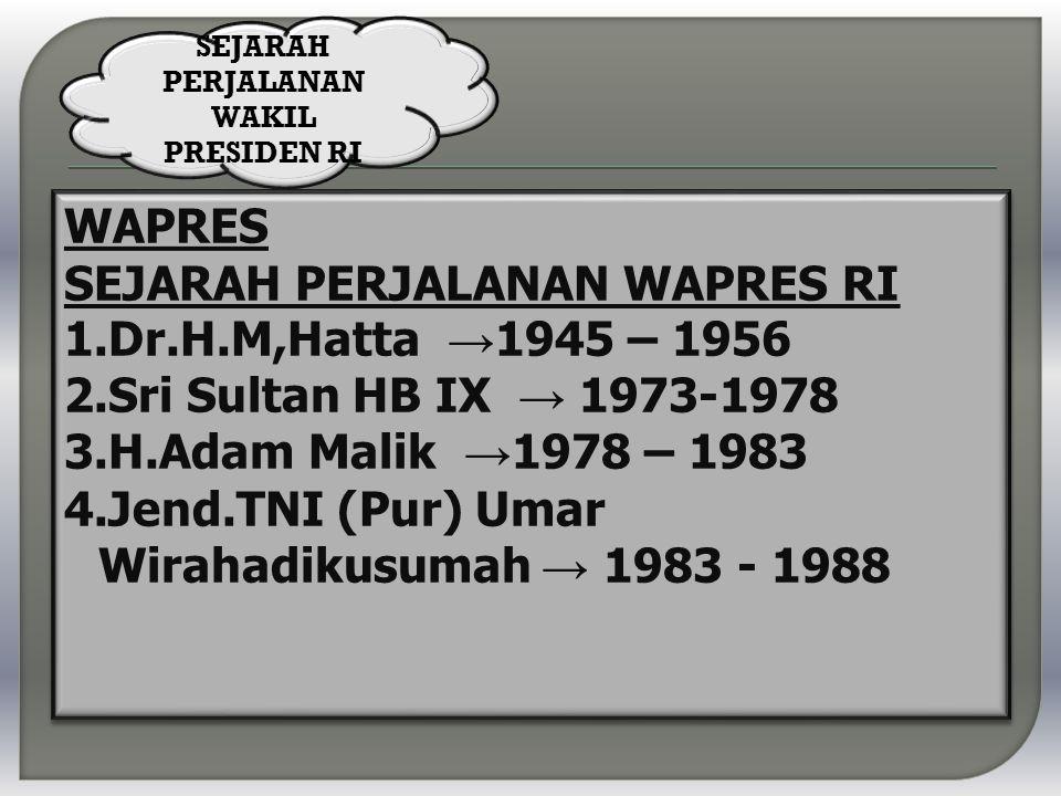 WAPRES SEJARAH PERJALANAN WAPRES RI 1.Dr.H.M,Hatta → 1945 – 1956 2.Sri Sultan HB IX → 1973-1978 3.H.Adam Malik → 1978 – 1983 4.Jend.TNI (Pur) Umar Wirahadikusumah → 1983 - 1988 WAPRES SEJARAH PERJALANAN WAPRES RI 1.Dr.H.M,Hatta → 1945 – 1956 2.Sri Sultan HB IX → 1973-1978 3.H.Adam Malik → 1978 – 1983 4.Jend.TNI (Pur) Umar Wirahadikusumah → 1983 - 1988 SEJARAH PERJALANAN WAKIL PRESIDEN RI