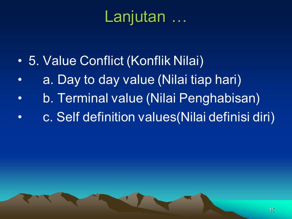 15 Lanjutan … 5. Value Conflict (Konflik Nilai) a. Day to day value (Nilai tiap hari) b. Terminal value (Nilai Penghabisan) c. Self definition values(