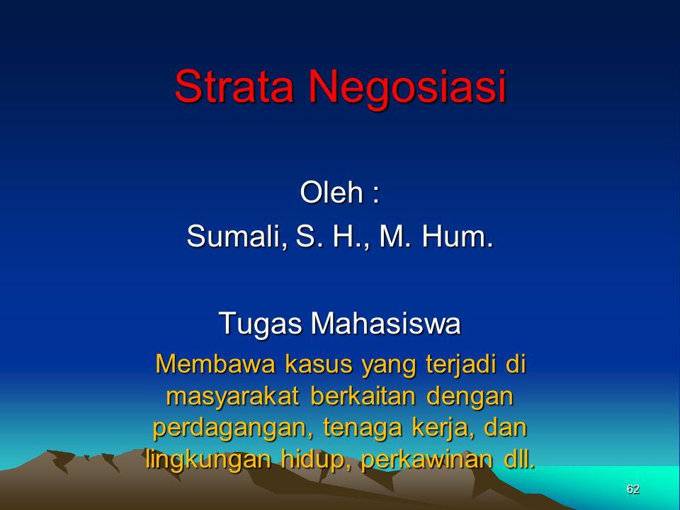 Strata Negosiasi Oleh : Sumali, S. H., M. Hum. Tugas Mahasiswa Membawa kasus yang terjadi di masyarakat berkaitan dengan perdagangan, tenaga kerja, da