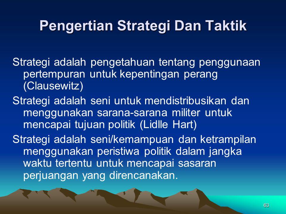 63 Pengertian Strategi Dan Taktik Strategi adalah pengetahuan tentang penggunaan pertempuran untuk kepentingan perang (Clausewitz) Strategi adalah sen