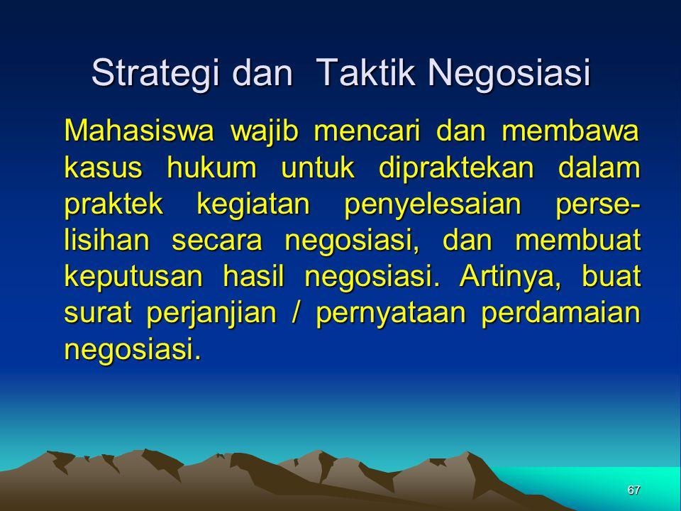 Strategi dan Taktik Negosiasi Mahasiswa wajib mencari dan membawa kasus hukum untuk dipraktekan dalam praktek kegiatan penyelesaian perse- lisihan sec