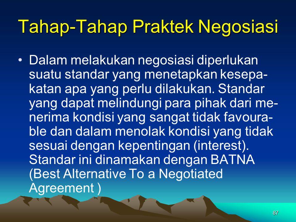 87 Tahap-Tahap Praktek Negosiasi Dalam melakukan negosiasi diperlukan suatu standar yang menetapkan kesepa- katan apa yang perlu dilakukan. Standar ya