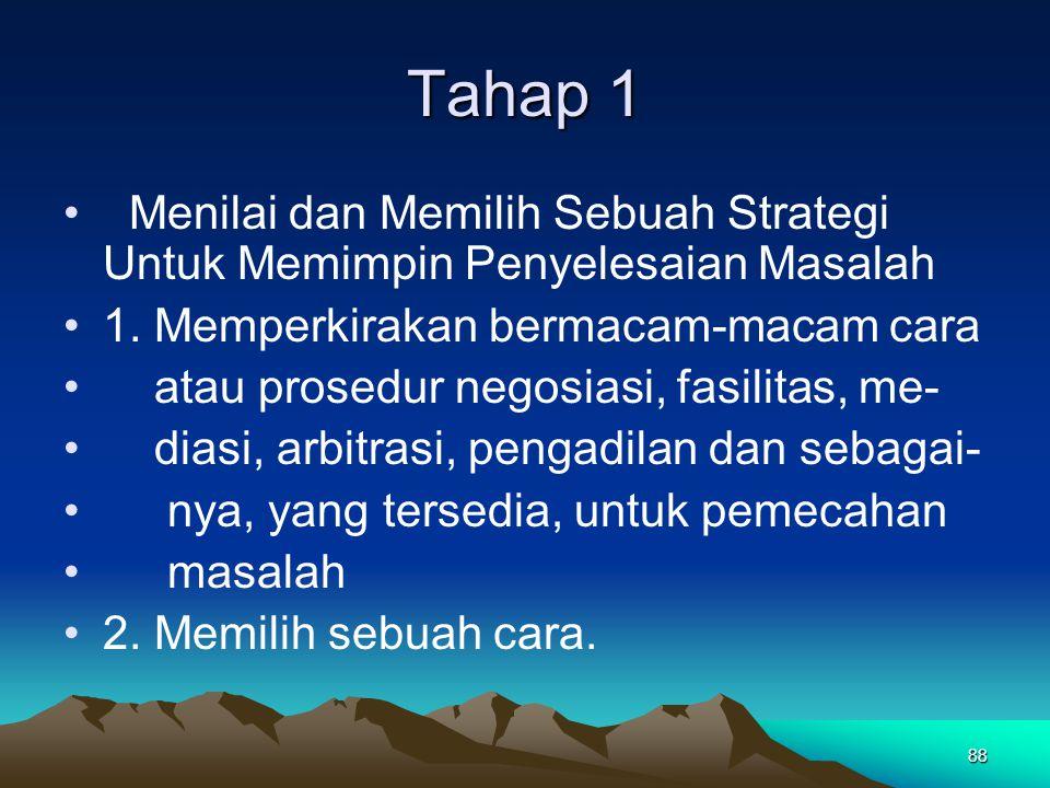 88 Tahap 1 Menilai dan Memilih Sebuah Strategi Untuk Memimpin Penyelesaian Masalah 1. Memperkirakan bermacam-macam cara atau prosedur negosiasi, fasil